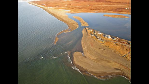 EROSION— The Nome River cut the sandspit off from Fort Davis, eroding the shoreline around the campsites, in this October 2019 photo.