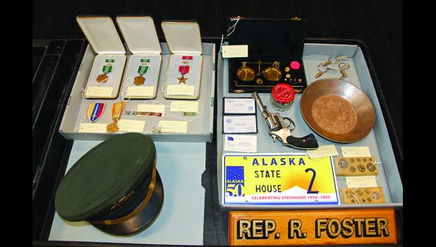 MEMORABILIA—The Richard Foster family donated many items for display at the Carrie M. McLain Memorial Museum which resides in a building named after the late Alaska state representative.