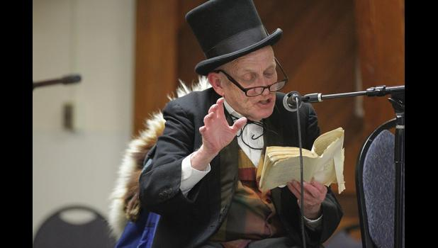 ROBERT SERVICE READING— It was tradition that Richard Beneville held Robert Service readings during Iditarod time at the Mini Convention Center.