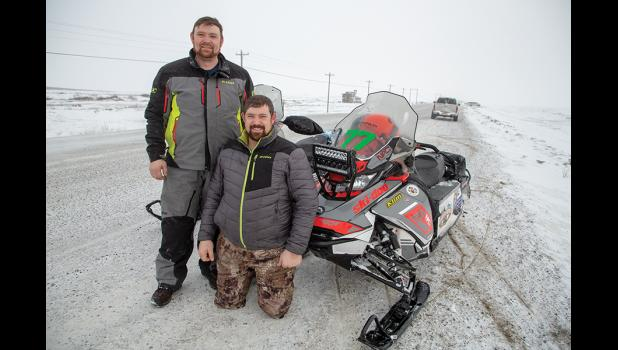 TRAIL CLASS—The Hale Brothers, Team 77, were the first Recreational Class riders to Nome. Joseph is on the left, Israel on the right.