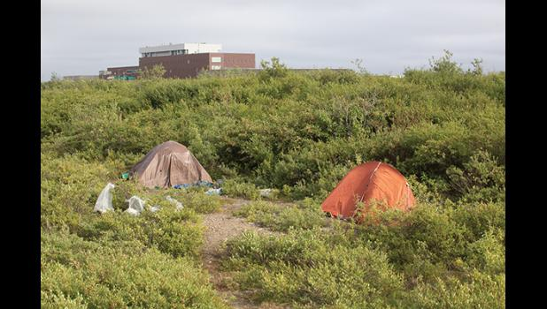 HIDDEN– Two tents being used by homeless persons are hidden from view off Greg Kruschek Avenue.