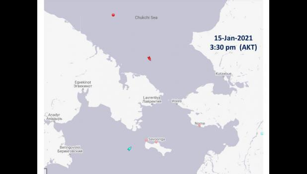 This screen shot of marinetraffic.com shows the position of two LNG tankers heading south from the Northern Sea Route towards the Bering Strait.
