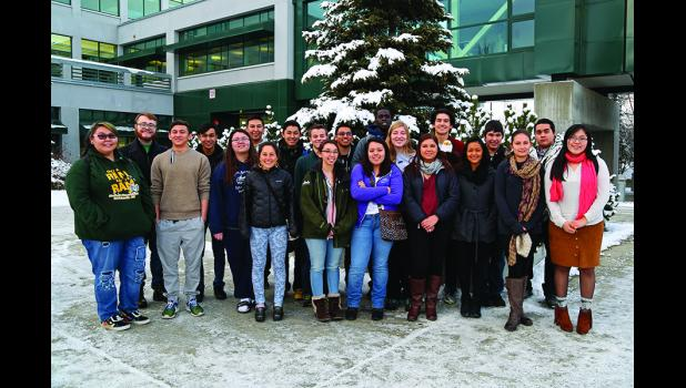ARCTIC YOUTH AMBASSADORS– Arctic Youth Ambassadors take a break from their meetings for group photo in Anchorage. During the conference, over 20 students met to discuss environmental problems in Alaska.