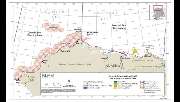 OUTER CONTINENTAL SHELF LEASES— The map shows active industry leases in the Chukchi and Beaufort Seas.