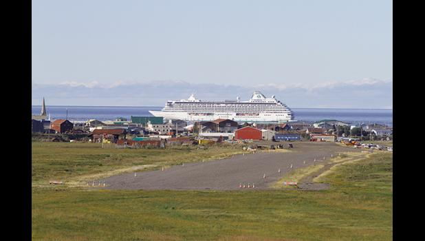 The cruise ship Crystal Serenity anchored at Nome's roadstead on August 20.