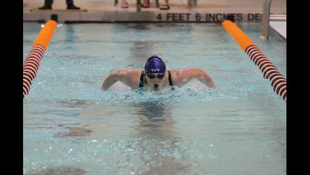 Lupe Callahan swimming in the Northern Area Championships