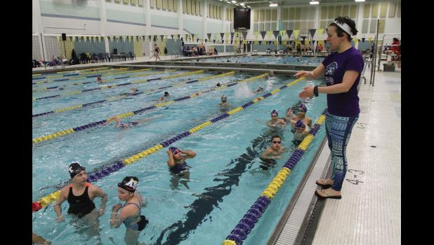 Coach Kristin Riall prepares ten NNST swimmers to compete at Bartlett Pool, on Saturday, Jan.12.