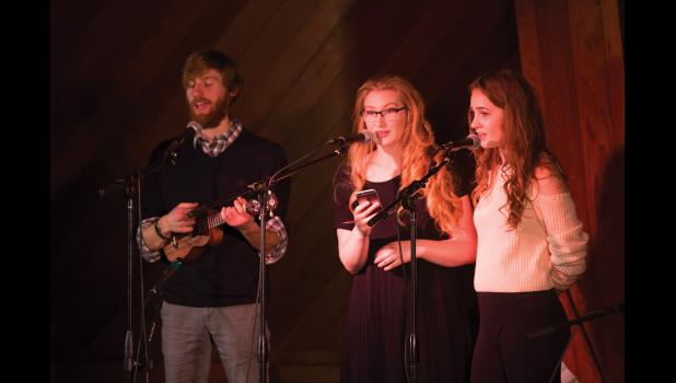 SWEET VOICES— Gabe Colombo, Maya Coler and Ava Earthman performed at last Saturday's Open Mic Night at the Mini.