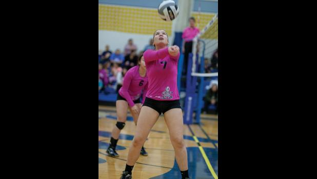 PINK POWER – Courtney Merchant controls the ball during tournament action Saturday.