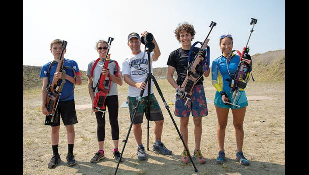 BIATHLON CAMP – From left are John Soderstrom of Unalakleet, Sarah Bahnke, Keith Conger, Tobin Hobbs, and Mallory Conger, all of Nome.
