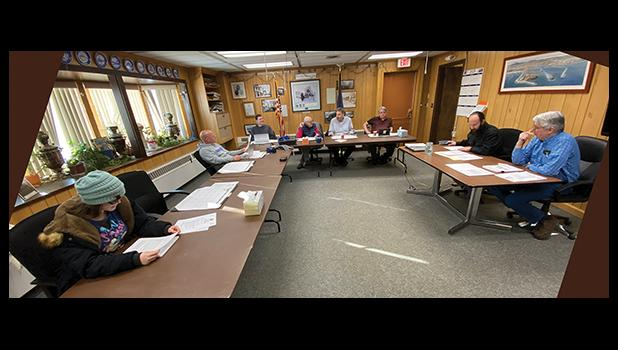 COUNCIL— The Nome Common Council met last Monday for a work session and a regular meeting. Pictured are youth representative Molly Kenick, Adam Martinson, Doug Johnson, Mayor Richard Beneville, Mark Johnson, Jerald Brown, City Clerk Bryant Hammond and City Manager Glenn Steckman.