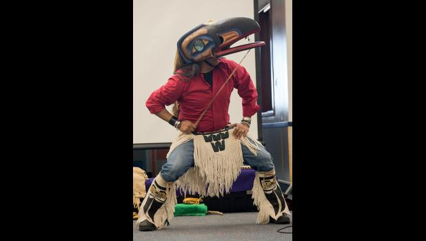 Gene Tagaban performed a Raven Dance at the Wellness Conference. Tagaban told how he became a raven dancer, from his first interest as a child and how he developed into performing the raven dance. He donned his raven regalia and performed the dance.