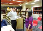 NEW SCHOOL BOARD MEMBER— Panganga Pungowiyi is being sworn in by NPS Superintendent Shawn Arnold on Tuesday, April 25.